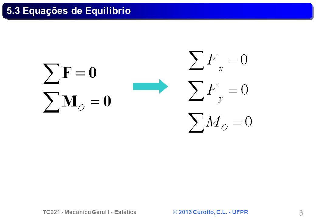 TC021 - Mecânica Geral I - Estática © 2013 Curotto, C.L. - UFPR 3 5.3 Equações de Equilíbrio
