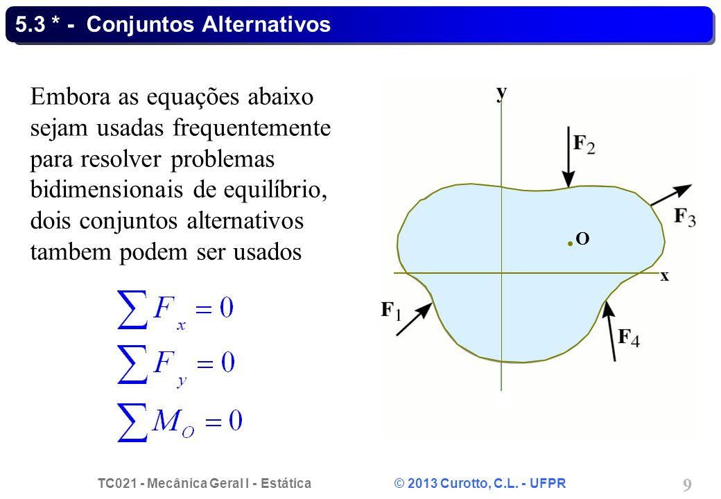 TC021 - Mecânica Geral I - Estática © 2013 Curotto, C.L. - UFPR 9 5.3 * - Conjuntos Alternativos Embora as equações abaixo sejam usadas frequentemente