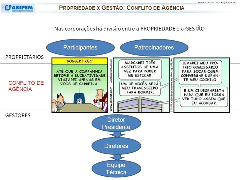 Fevereiro de 2014, Silvio Rangel, slide 15 Nas corporações há divisão entre a PROPRIEDADE e a GESTÃO Diretores Equipe Técnica Diretor Presidente PROPR