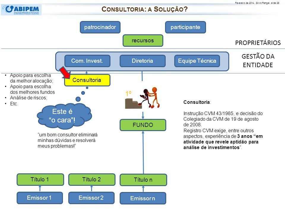 Fevereiro de 2014, Silvio Rangel, slide 29 PROPRIETÁRIOS patrocinadorparticipante recursos FUNDO Diretoria Com. Invest.Equipe Técnica Consultoria Cons