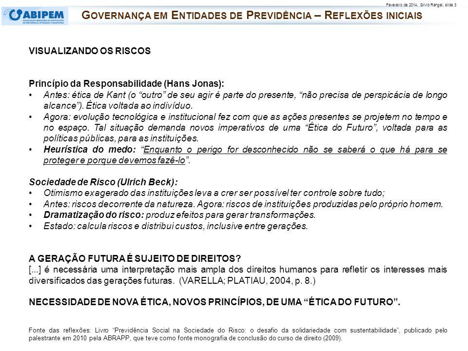 Fevereiro de 2014, Silvio Rangel, slide 3 VISUALIZANDO OS RISCOS Princípio da Responsabilidade (Hans Jonas): Antes: ética de Kant (o outro de seu agir