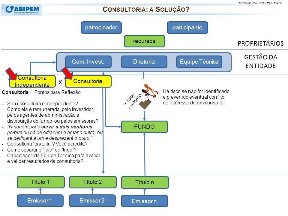 Fevereiro de 2014, Silvio Rangel, slide 30 PROPRIETÁRIOS patrocinadorparticipante recursos FUNDO Diretoria Com. Invest.Equipe Técnica Consultoria Emis