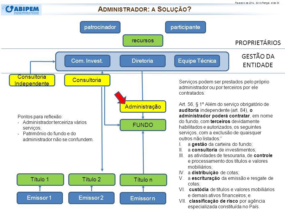 Fevereiro de 2014, Silvio Rangel, slide 33 PROPRIETÁRIOS patrocinadorparticipante recursos FUNDO Diretoria Com. Invest.Equipe Técnica Consultoria Admi