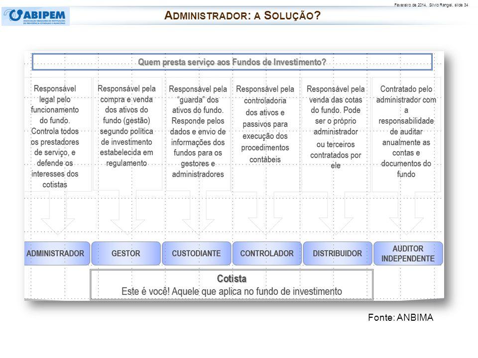 Fevereiro de 2014, Silvio Rangel, slide 34 Fonte: ANBIMA A DMINISTRADOR : A S OLUÇÃO ?