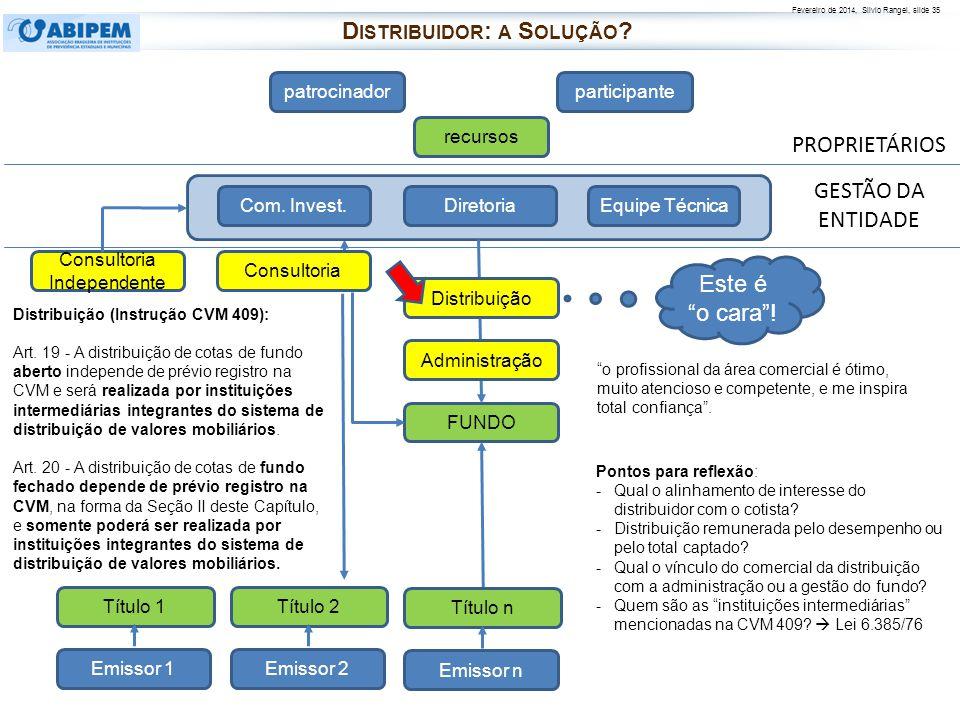 Fevereiro de 2014, Silvio Rangel, slide 35 PROPRIETÁRIOS patrocinadorparticipante recursos FUNDO Diretoria Com. Invest.Equipe Técnica Distribuição Emi