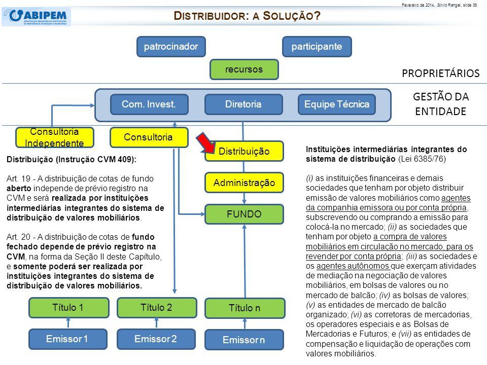 Fevereiro de 2014, Silvio Rangel, slide 36 PROPRIETÁRIOS patrocinadorparticipante recursos FUNDO Diretoria Com. Invest.Equipe Técnica Distribuição Emi