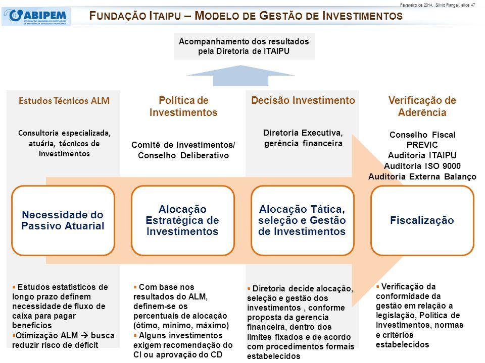 Fevereiro de 2014, Silvio Rangel, slide 47 Necessidade do Passivo Atuarial Alocação Estratégica de Investimentos Alocação Tática, seleção e Gestão de