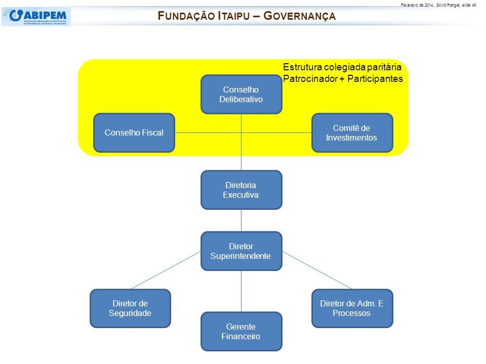 Fevereiro de 2014, Silvio Rangel, slide 48 F UNDAÇÃO I TAIPU – G OVERNANÇA Conselho Deliberativo Comitê de Investimentos Conselho Fiscal Diretoria Exe