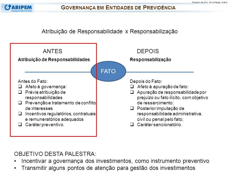 Fevereiro de 2014, Silvio Rangel, slide 9 Atribuição de Responsabilidades Antes do Fato: Afeto à governança: Prévia atribuição de responsabilidades Pr