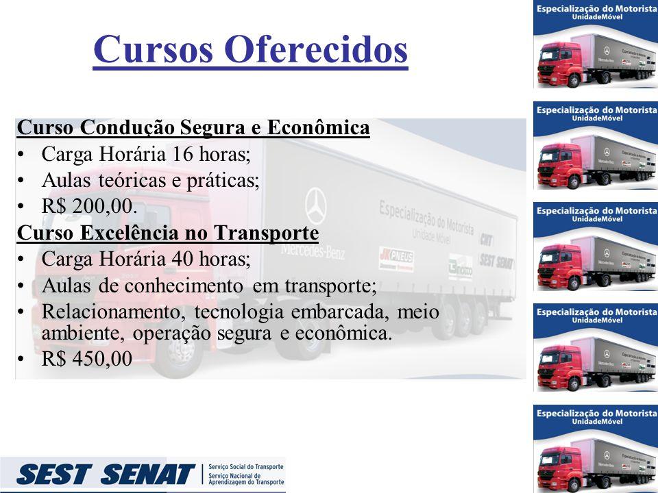 Cursos Oferecidos Curso Condução Segura e Econômica Carga Horária 16 horas; Aulas teóricas e práticas; R$ 200,00.