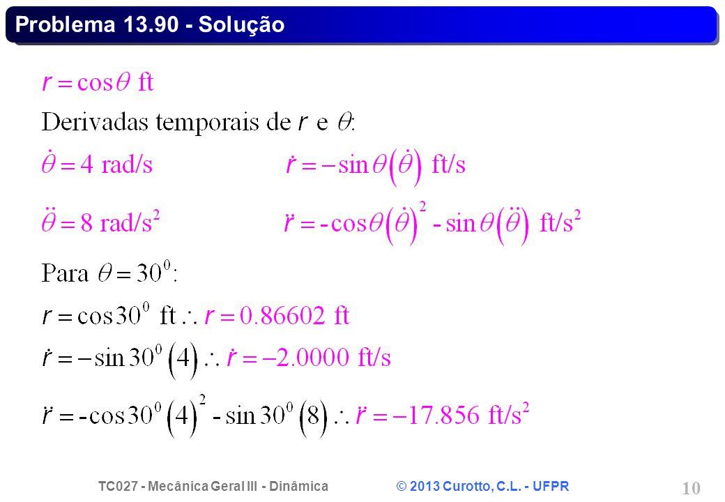 TC027 - Mecânica Geral III - Dinâmica © 2013 Curotto, C.L. - UFPR 10 Problema 13.90 - Solução