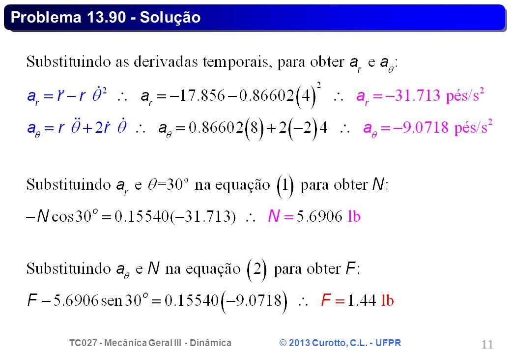 TC027 - Mecânica Geral III - Dinâmica © 2013 Curotto, C.L. - UFPR 11 Problema 13.90 - Solução