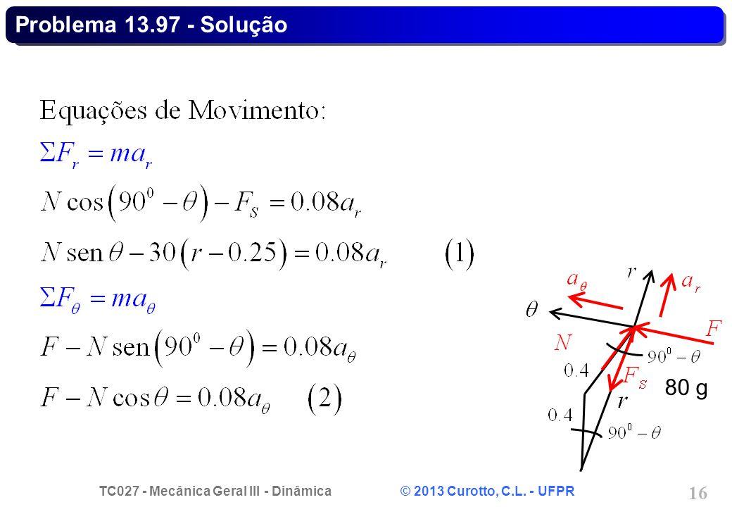 TC027 - Mecânica Geral III - Dinâmica © 2013 Curotto, C.L. - UFPR 16 Problema 13.97 - Solução 80 g