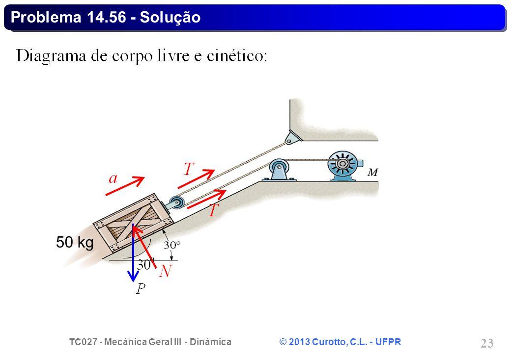 TC027 - Mecânica Geral III - Dinâmica © 2013 Curotto, C.L. - UFPR 23 Problema 14.56 - Solução 50 kg
