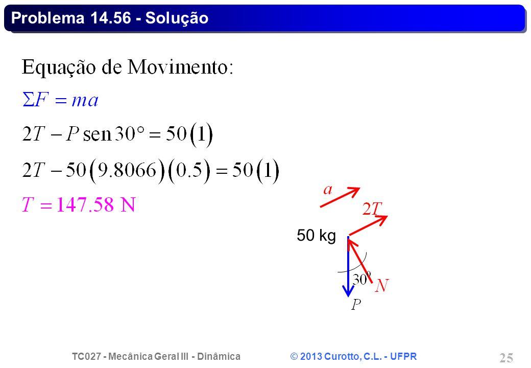 TC027 - Mecânica Geral III - Dinâmica © 2013 Curotto, C.L. - UFPR 25 Problema 14.56 - Solução 50 kg