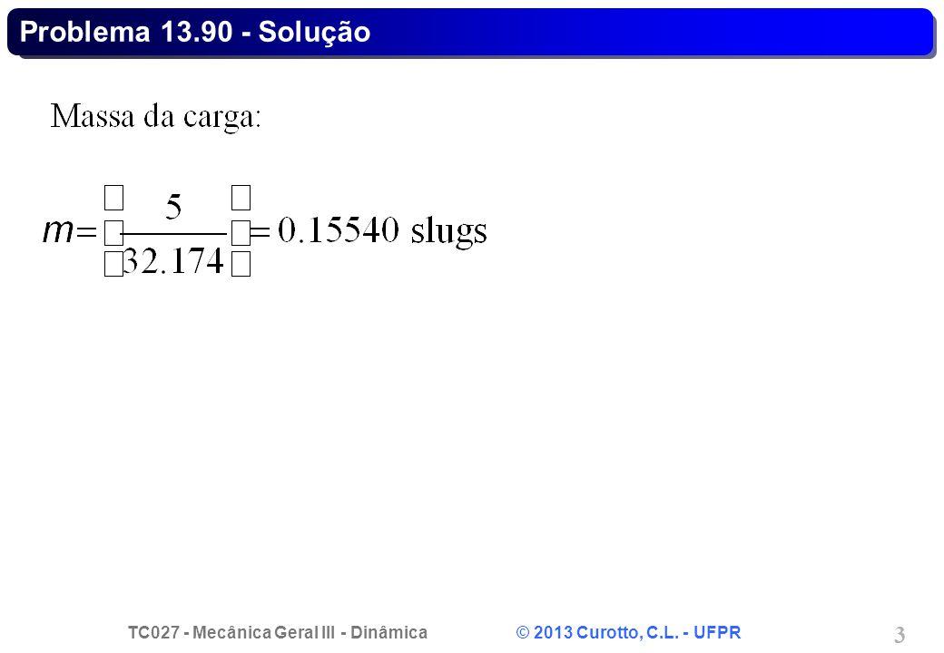 TC027 - Mecânica Geral III - Dinâmica © 2013 Curotto, C.L. - UFPR 3 Problema 13.90 - Solução