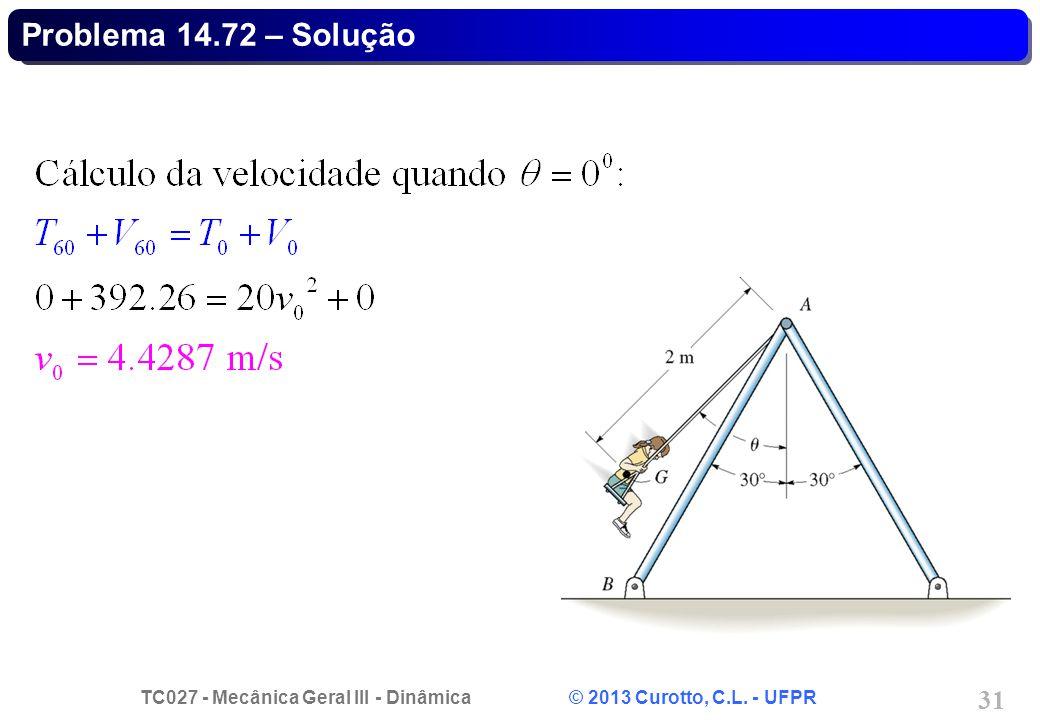 TC027 - Mecânica Geral III - Dinâmica © 2013 Curotto, C.L. - UFPR 31 Problema 14.72 – Solução