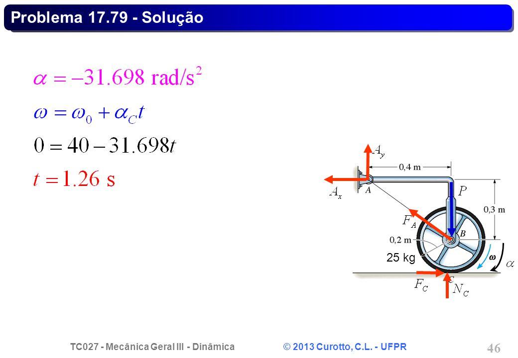 TC027 - Mecânica Geral III - Dinâmica © 2013 Curotto, C.L. - UFPR 46 Problema 17.79 - Solução 25 kg