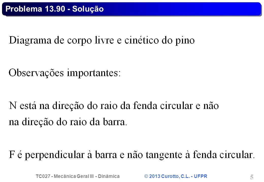 TC027 - Mecânica Geral III - Dinâmica © 2013 Curotto, C.L. - UFPR 5 Problema 13.90 - Solução