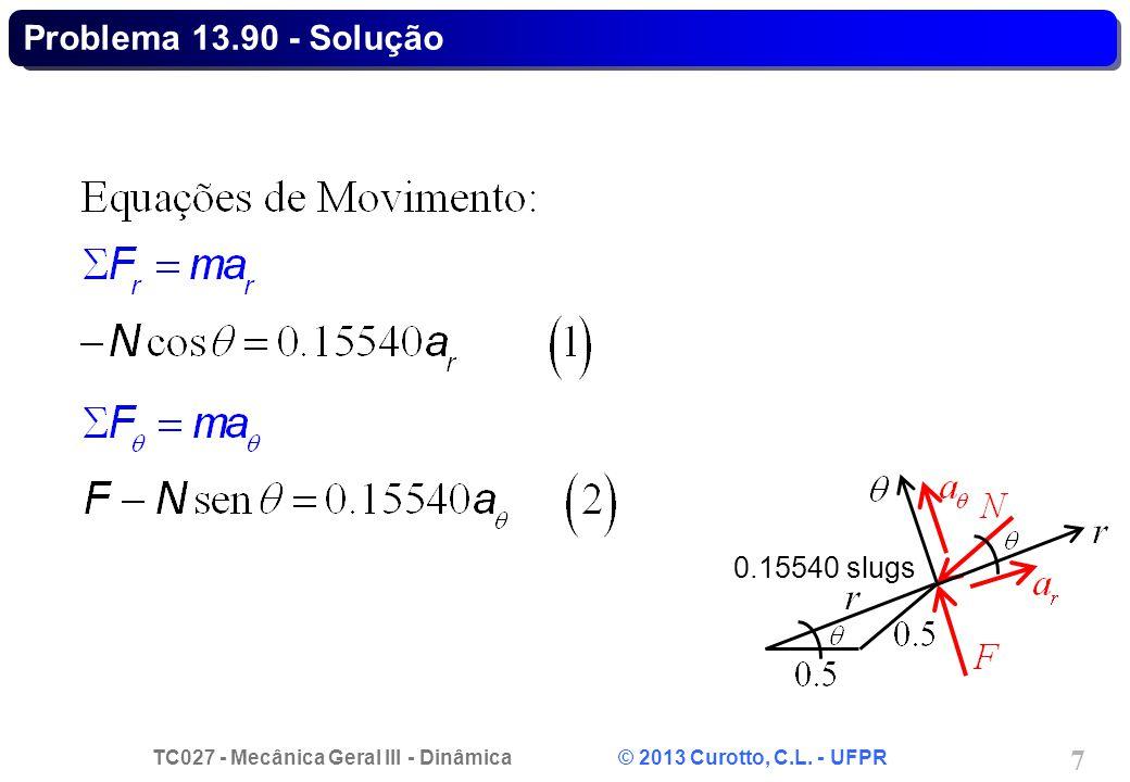 TC027 - Mecânica Geral III - Dinâmica © 2013 Curotto, C.L. - UFPR 28 Problema 14.72