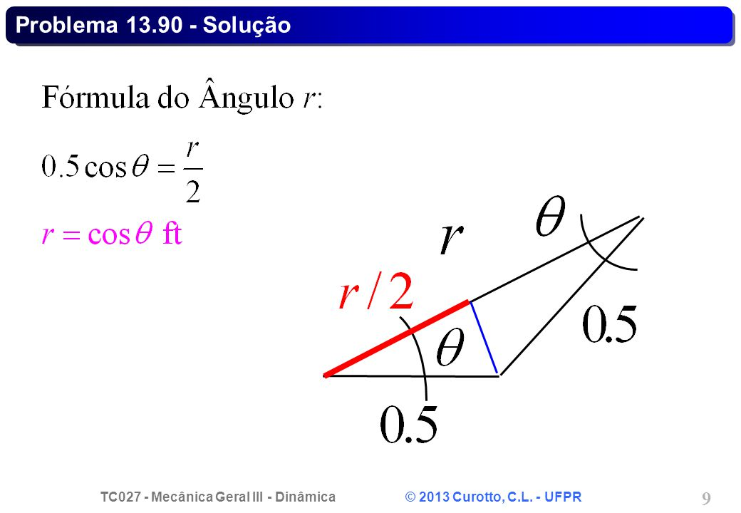 TC027 - Mecânica Geral III - Dinâmica © 2013 Curotto, C.L. - UFPR 20 Problema 13.97 - Solução