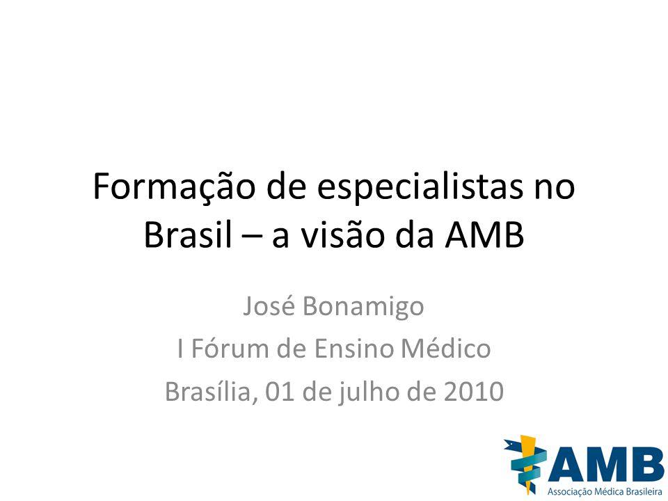 Formação de especialistas no Brasil – a visão da AMB José Bonamigo I Fórum de Ensino Médico Brasília, 01 de julho de 2010
