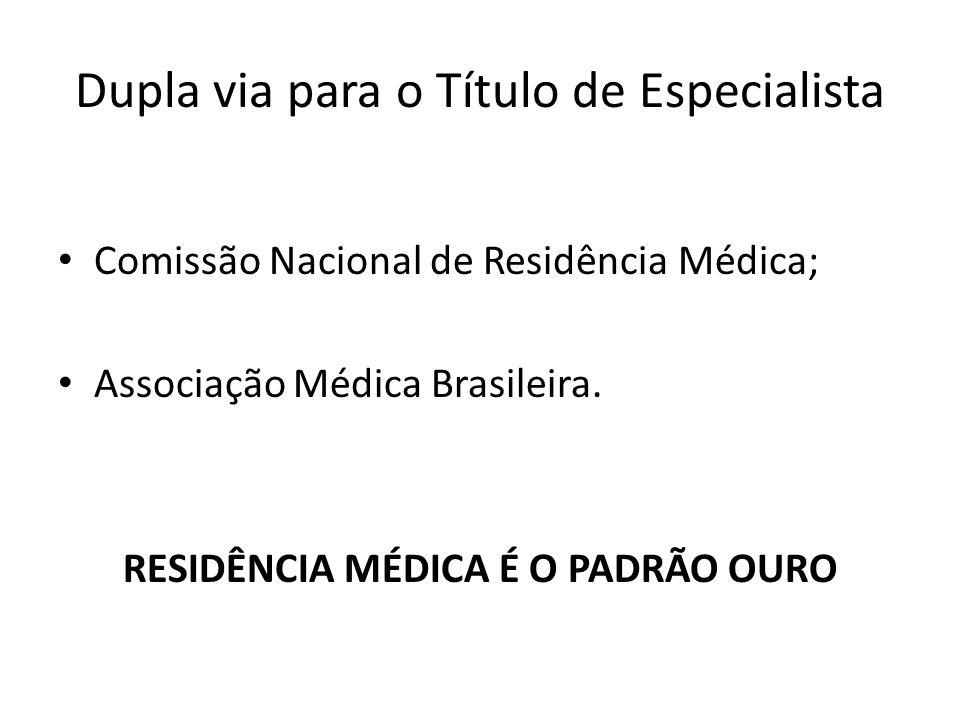 Dupla via para o Título de Especialista Comissão Nacional de Residência Médica; Associação Médica Brasileira. RESIDÊNCIA MÉDICA É O PADRÃO OURO