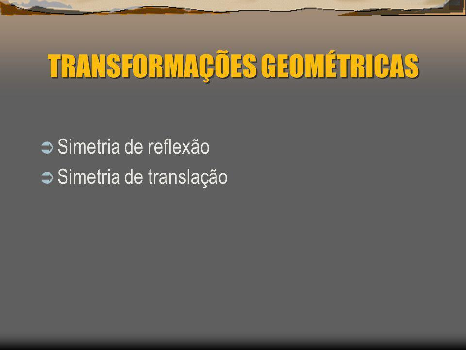 TRANSFORMAÇÕES GEOMÉTRICAS Simetria de reflexão Simetria de translação