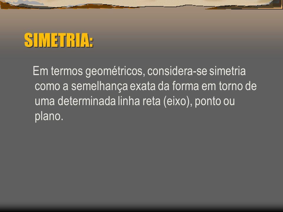 SIMETRIA: Em termos geométricos, considera-se simetria como a semelhança exata da forma em torno de uma determinada linha reta (eixo), ponto ou plano.
