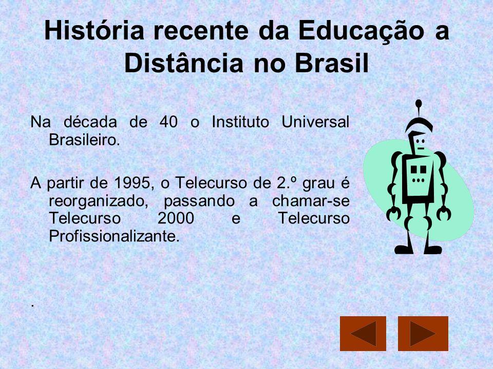 História recente da Educação a Distância no Brasil Na década de 40 o Instituto Universal Brasileiro. A partir de 1995, o Telecurso de 2.º grau é reorg