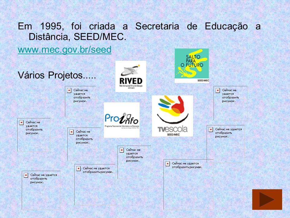 Em 1995, foi criada a Secretaria de Educação a Distância, SEED/MEC. www.mec.gov.br/seed Vários Projetos.....