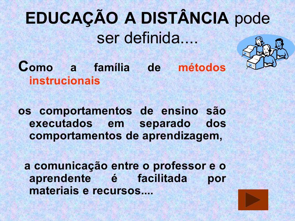EDUCAÇÃO A DISTÂNCIA pode ser definida.... C omo a família de métodos instrucionais os comportamentos de ensino são executados em separado dos comport