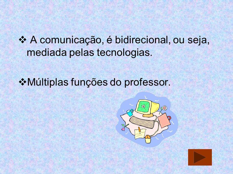 A comunicação, é bidirecional, ou seja, mediada pelas tecnologias. Múltiplas funções do professor.