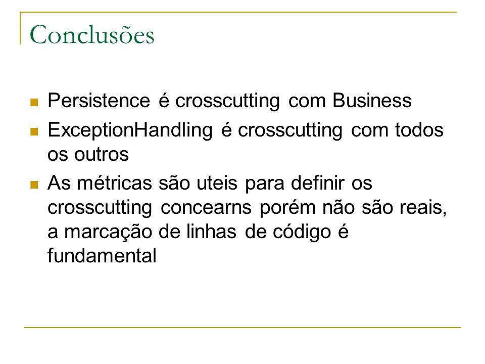 Conclusões Persistence é crosscutting com Business ExceptionHandling é crosscutting com todos os outros As métricas são uteis para definir os crosscutting concearns porém não são reais, a marcação de linhas de código é fundamental