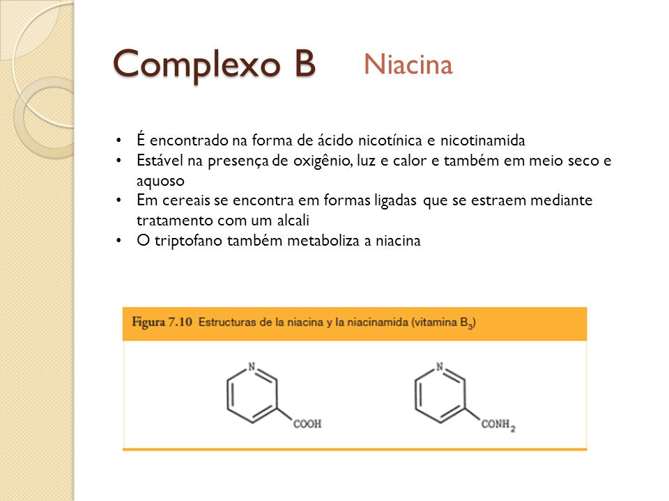 Complexo B Niacina É encontrado na forma de ácido nicotínica e nicotinamida Estável na presença de oxigênio, luz e calor e também em meio seco e aquos