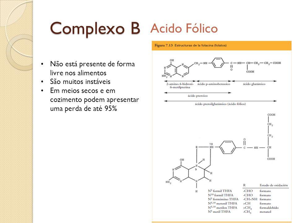 Complexo B Acido Fólico Não está presente de forma livre nos alimentos São muitos instáveis Em meios secos e em cozimento podem apresentar uma perda d