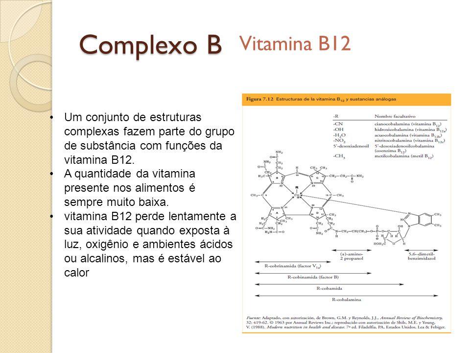 Complexo B Vitamina B12 Um conjunto de estruturas complexas fazem parte do grupo de substância com funções da vitamina B12. A quantidade da vitamina p