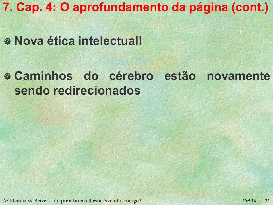 Valdemar W. Setzer – O que a Internet está fazendo comigo?21 20/5/14 7. Cap. 4: O aprofundamento da página (cont.) Nova ética intelectual! Caminhos do