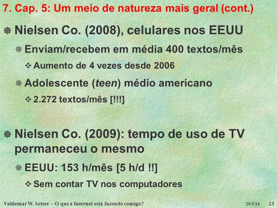 Valdemar W. Setzer – O que a Internet está fazendo comigo?23 20/5/14 7. Cap. 5: Um meio de natureza mais geral (cont.) Nielsen Co. (2008), celulares n
