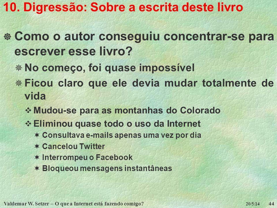Valdemar W. Setzer – O que a Internet está fazendo comigo?44 20/5/14 10. Digressão: Sobre a escrita deste livro Como o autor conseguiu concentrar-se p
