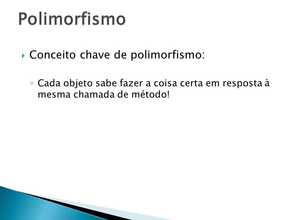 Conceito chave de polimorfismo: Cada objeto sabe fazer a coisa certa em resposta à mesma chamada de método! Polimorfismo