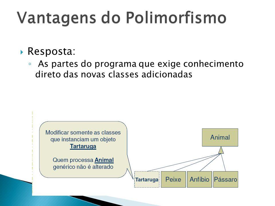 Resposta: As partes do programa que exige conhecimento direto das novas classes adicionadas Vantagens do Polimorfismo