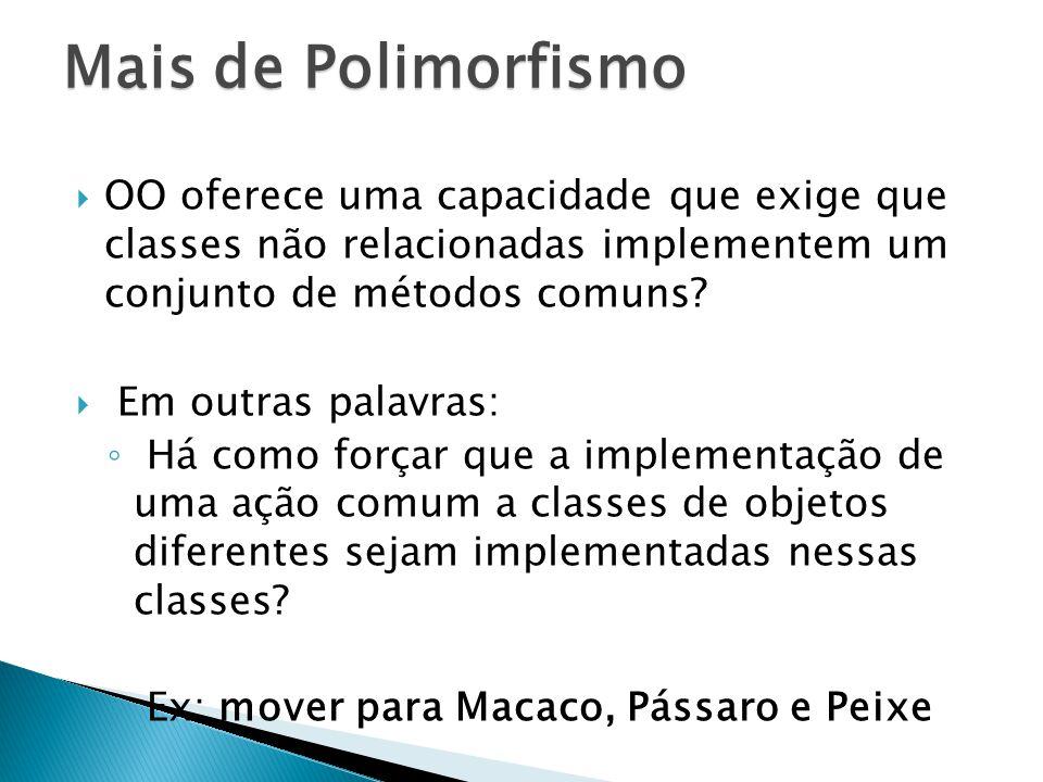 OO oferece uma capacidade que exige que classes não relacionadas implementem um conjunto de métodos comuns.