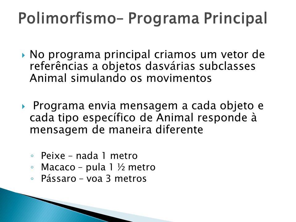 No programa principal criamos um vetor de referências a objetos dasvárias subclasses Animal simulando os movimentos Programa envia mensagem a cada obj