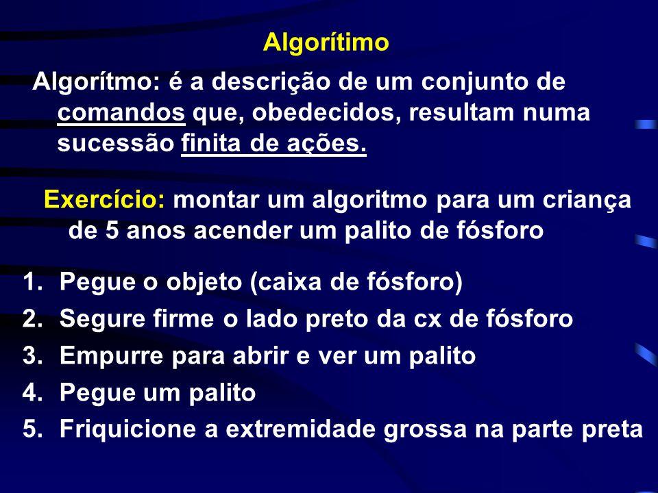 INFORMÁTICA E COMPUTAÇÃO CMP -1060 Objetivo principal prático: desenvolver o raciocínio lógico Algoritmo