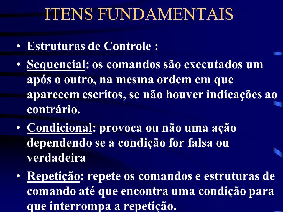 ITENS FUNDAMENTAIS Algorítmo: é a descrição de um conjunto de comandos que, obedecidos, resultam numa sucessão finita de ações. Comandos: determina as
