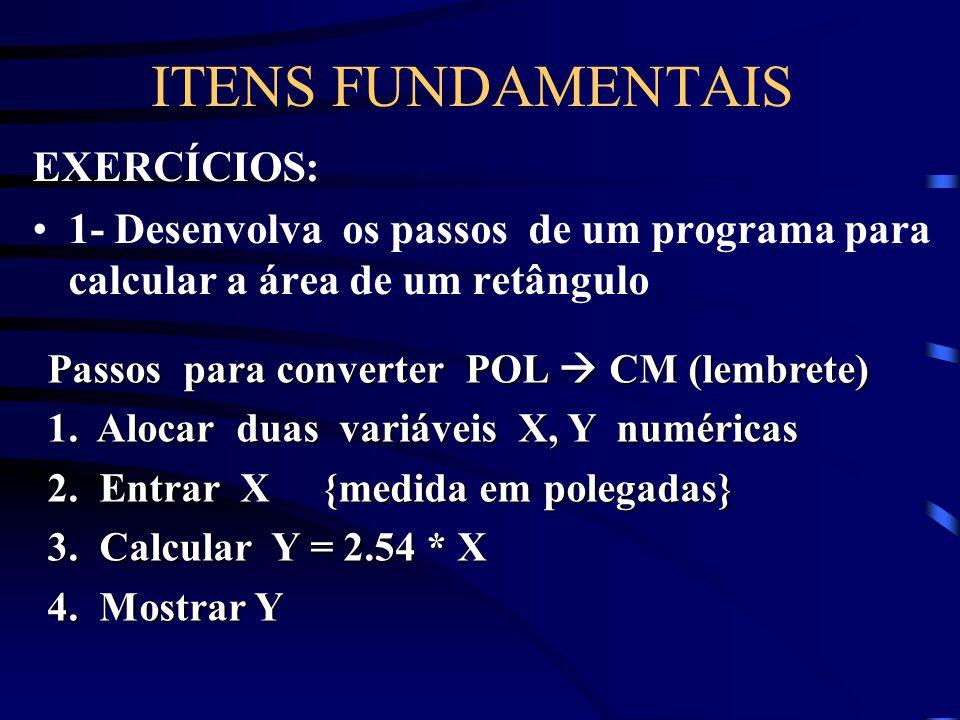ITENS FUNDAMENTAIS EXERCÍCIOS: 1- Desenvolva os passos de um programa para calcular a área de um retângulo 2- Sabendo-se um dollar = R$ 1,90; Desenvol