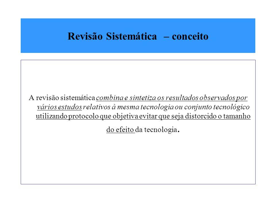 Revisão Sistemática – conceito A revisão sistemática combina e sintetiza os resultados observados por vários estudos relativos à mesma tecnologia ou c