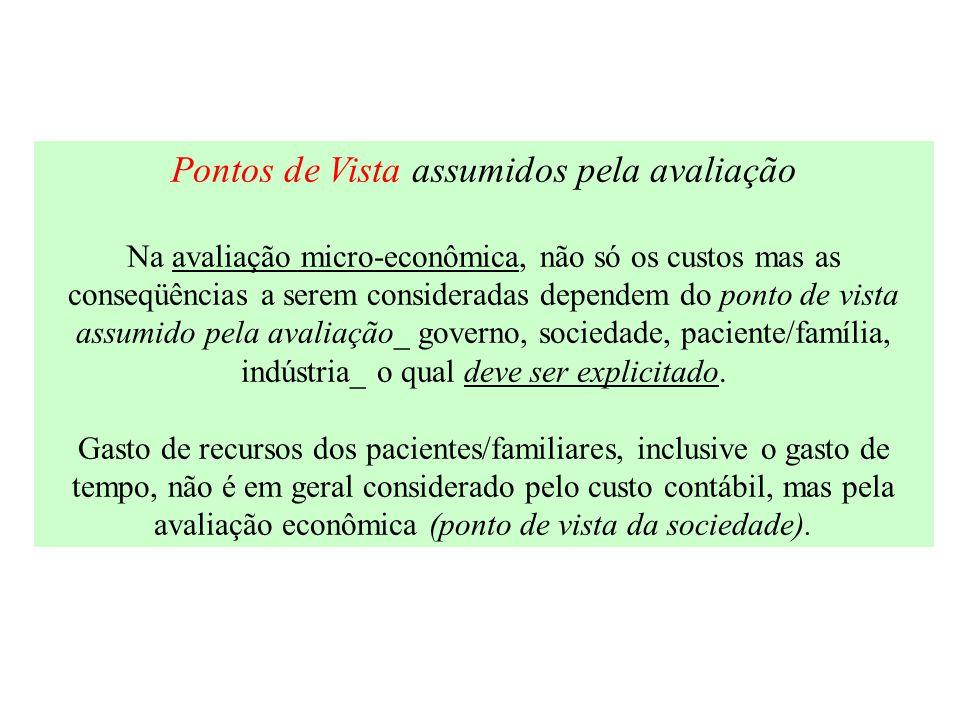 Pontos de Vista assumidos pela avaliação Na avaliação micro-econômica, não só os custos mas as conseqüências a serem consideradas dependem do ponto de