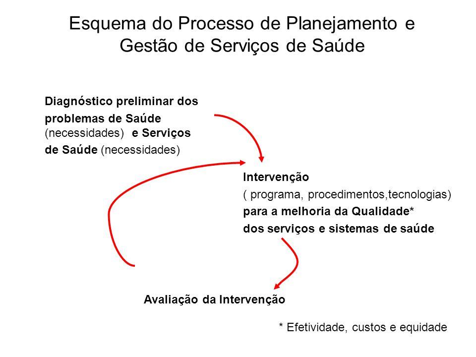 Esquema do Processo de Planejamento e Gestão de Serviços de Saúde Diagnóstico preliminar dos problemas de Saúde (necessidades) e Serviços de Saúde (ne